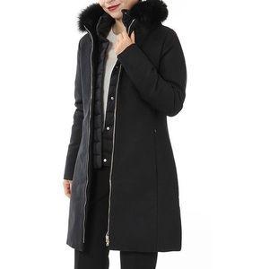 Herno Slim Fit Black Warm Coat Fur Trim Hood